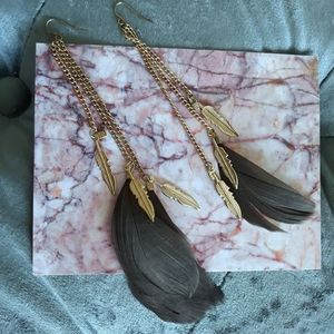 Gold Gray Feather Earrings